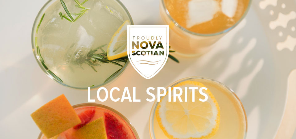 Four different citrus-themed drinks overlaid with a 'Proudly Nova Scotian' badge and text that reads, 'Local Spirits'.