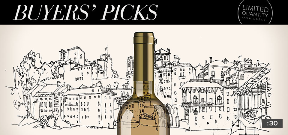 "A bottle of wine on top of a hand drawn town with a banner that says ""Buyers' Picks"". Cover for a 30 second video."